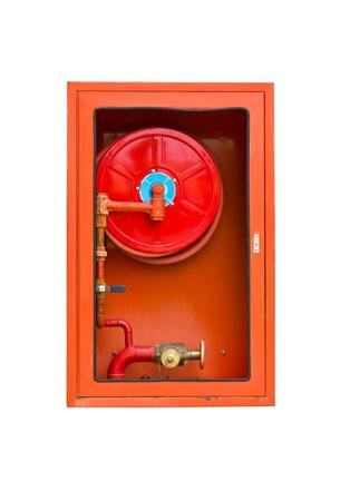 Fire extinguishers on white isolated photo