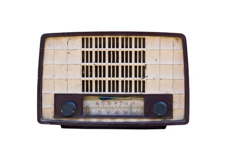 Old radio isolated on white background.