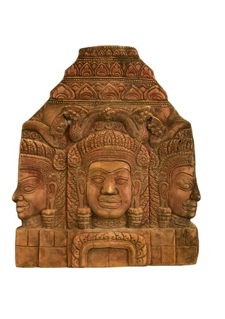 Sandstone carvings face woman in angkor wat,cambodia. photo