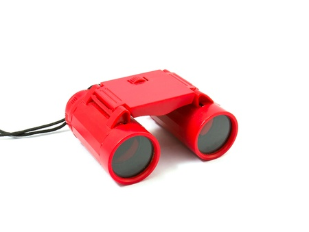 Red Binoculars Isolated on white background Stock Photo