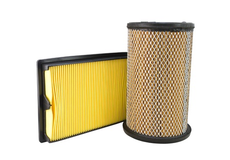 Close-up of a air filter isolated on white background photo