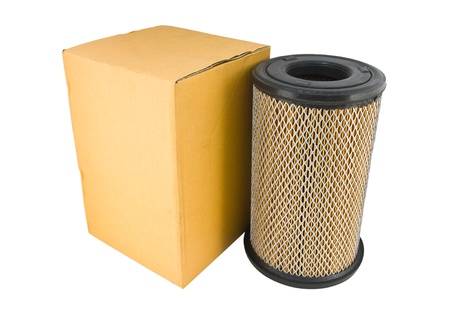 Close-up of a air filter and box isolated on white background