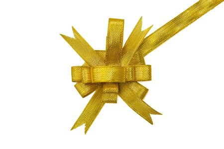 Golden gift bow. Ribbon on white background Stock Photo - 11552865