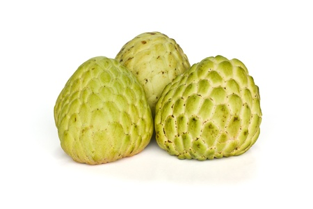 custard apple: Tropical custard apple fruit on white background Stock Photo