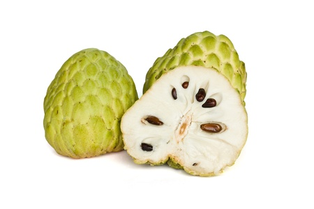 custard apple fruit: Tropical custard apple fruit on white background Stock Photo