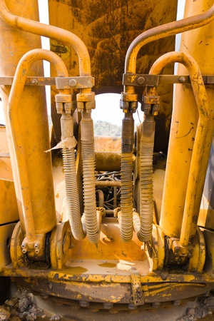 Hydraulic hoses on a old bulldozer Stock Photo - 12530915
