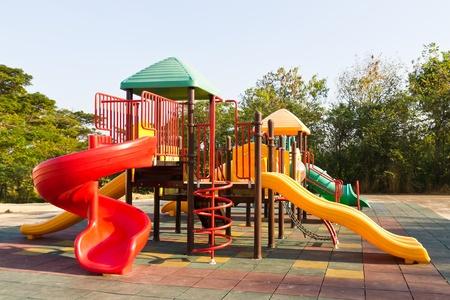 Modern children playground in park photo