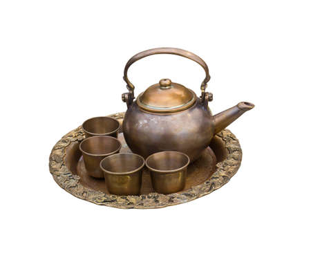 tea set with cups and tea pot isolated on white photo