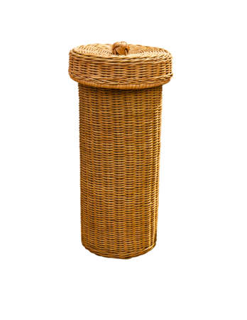 Closed  basket made from rattan on white background photo