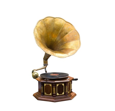 Retro old gramophone with horn speaker photo