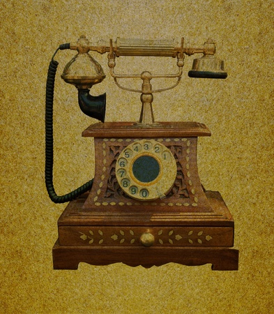 ancient telephone: Telephone retro on grunge paper background Stock Photo
