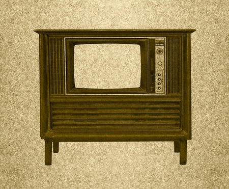 Television retro on grunge paper background photo