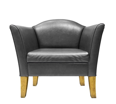 Black leather armchair isolated on white background photo