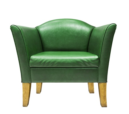 Expensive green leather armchair isolated on white background photo