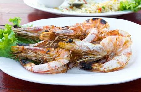 Grilled shrimp at a  restaurant in Thailand photo