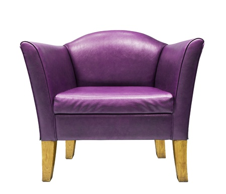 Purple  armchair isolated on white background photo