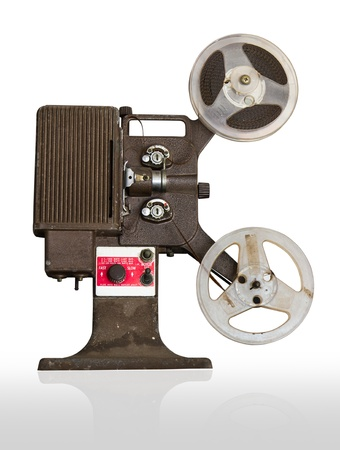 Analogue  movie projector with reels isolate on white background photo