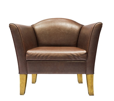 Brown leather armchair isolated on white background photo
