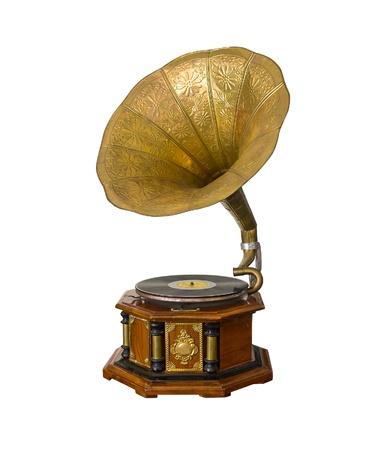 giradisco: Grammofono d'epoca isolato su sfondo bianco Archivio Fotografico