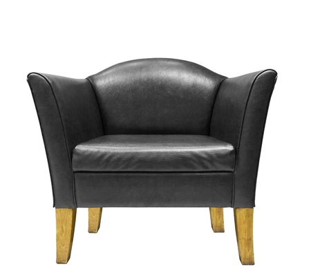Expensive Black leather armchair  isolated on white background photo