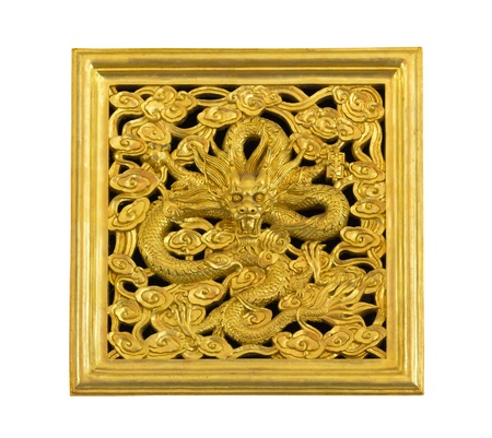 Ancient statue of golden dragon on white background Stock Photo - 14030256