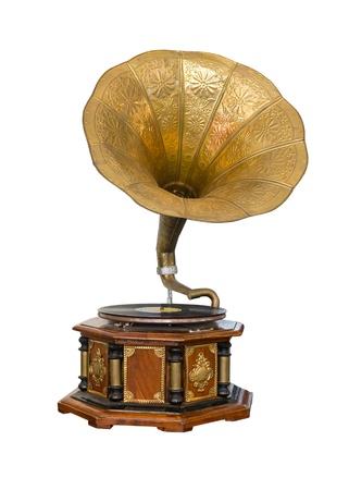 Vintage Gramophone isolated on white background Stockfoto