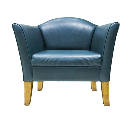 Blue leather armchair isolated on white background Stockfoto