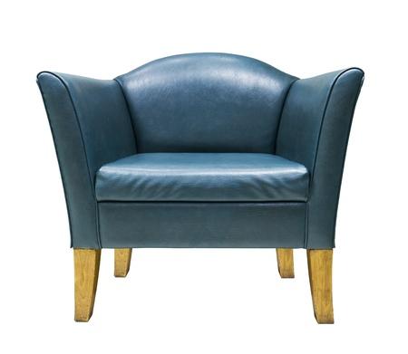 blue leather sofa: Poltrona in pelle blu isolato su sfondo bianco