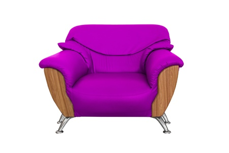 Modern Purple sofa isolated on white background photo