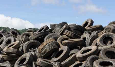 Heap of old Tires  in recycling plant in Thailand photo