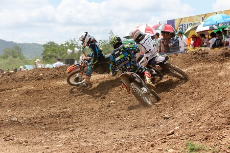 MUAKLEK, THAILAND - AUGUST 05  Unidentified riders participate in  competition Supercross Championship of Thailand, on August 05, 2012 in Muaklek, Saraburi,Thailand