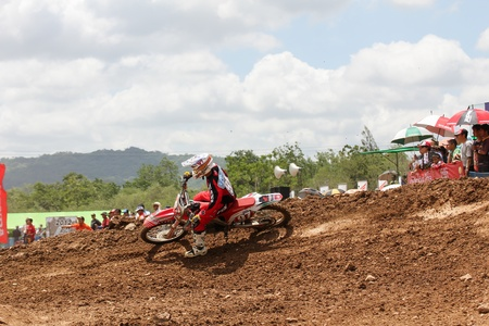 panning shot: MUAKLEK, THAILAND - AUGUST 05  Unidentified riders participate in  competition Supercross Championship of Thailand, on August 05, 2012 in Muaklek, Saraburi,Thailand Editorial