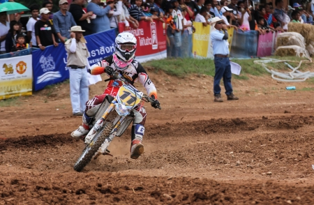 MUAKLEK, THAILAND - AUGUST 05  Unidentified riders participate in  competition Supercross Championship of Thailand, on August 05, 2012 in Muaklek, Saraburi,Thailand Redactioneel