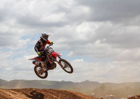 MUAKLEK, THAILAND - AUGUST 05: Unidentified rider participates in competition Supercross Championship of Thailand, on August 05, 2012 in Muaklek, Saraburi,Thailand