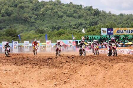 supercross: MUAKLEK, THAILAND - AUGUST 05: Unidentified rider participates in competition Supercross Championship of Thailand, on August 05, 2012 in Muaklek, Saraburi,Thailand Editorial