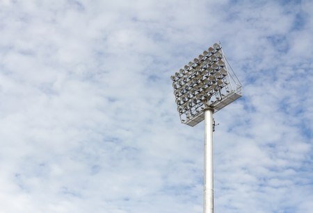 The Stadium Spot-light tower over Blue Sky Stock Photo - 15381070