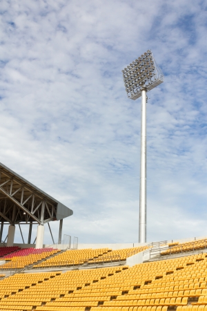 The Stadium Spot-light tower over Blue Sky Stock Photo - 15381114