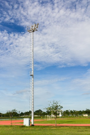 The Stadium Spot-light tower over Blue Sky Stock Photo - 15526563