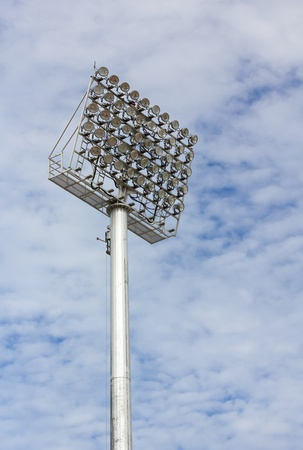 The Stadium Spot-light tower over Blue Sky Stock Photo - 15381106