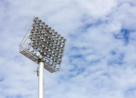 The Stadium Spot-light tower over Blue Sky Stock Photo - 15381109