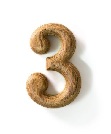 yearly: Beautiful wooden numeric with shadow on white background