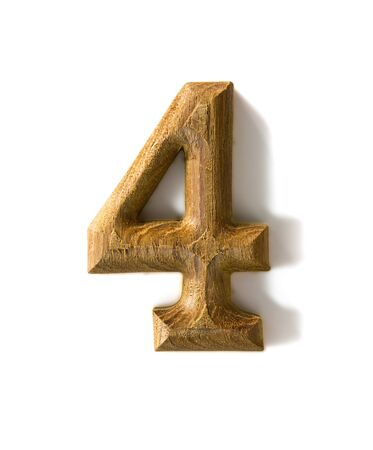 date night: Beautiful wooden numeric with shadow on white background
