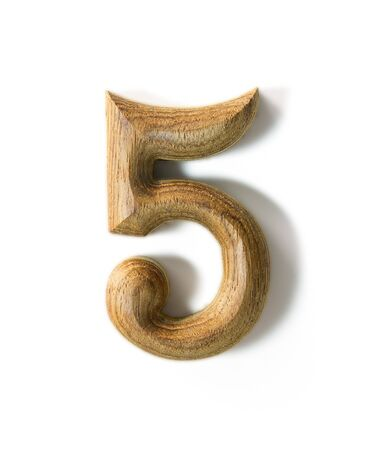 vigil: Beautiful wooden numeric with shadow on white background