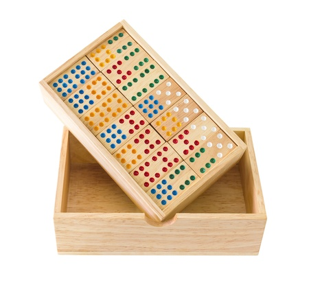 Wooden Domino in wooden box  isolated on white Stock Photo - 15587357