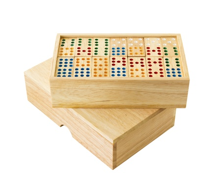 Wooden Domino in wooden box  isolated on white  photo