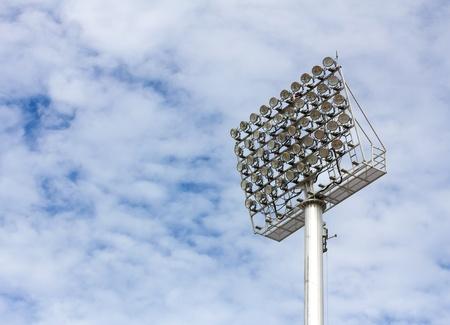 The Stadium Spot-light tower over Blue Sky Stock Photo - 15692144