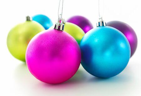 Set of Christmas balls on white background Stockfoto