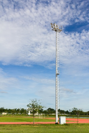 staging: The Stadium Spot-light tower over Blue Sky