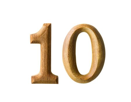 0 1 months: Beautiful wooden numeric with shadow on white background