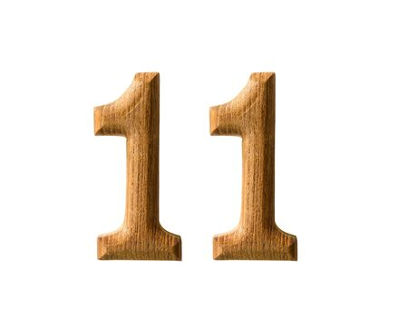 number eleven: Beautiful wooden numeric with shadow on white background